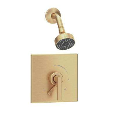 Duro 1-Handle Wall-Mounted Shower Trim Kit in Brushed Bronze with Low Flow (Valve Not Included)