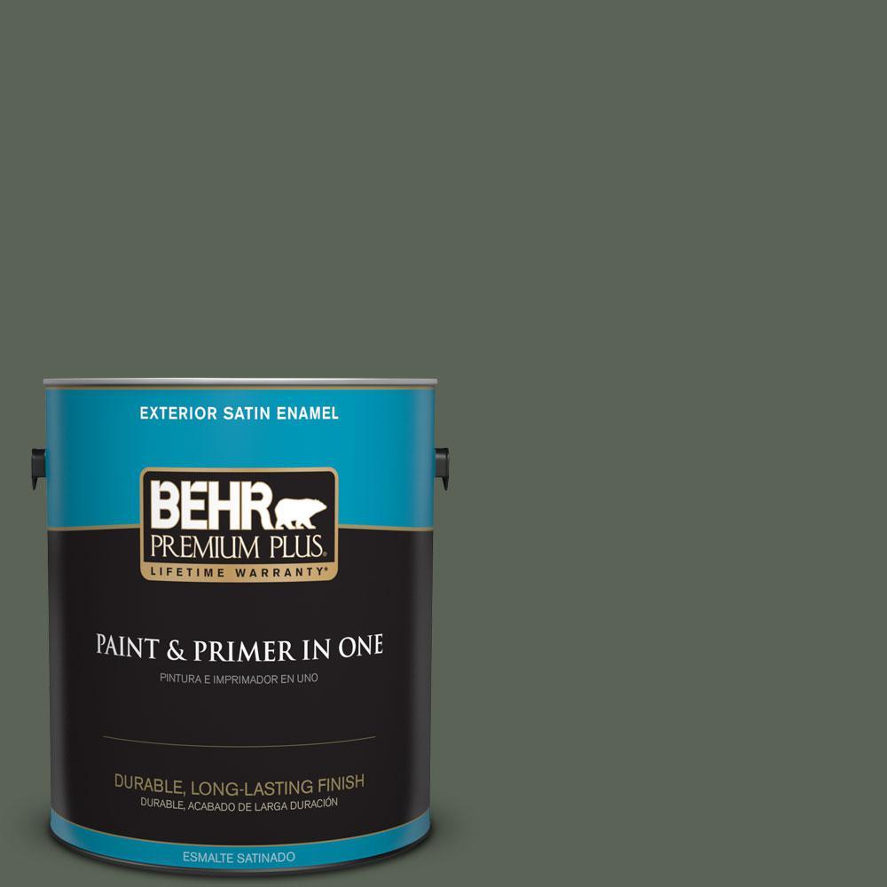 1-gal. #T13-16 Pine Cone Pass Satin Enamel Exterior Paint