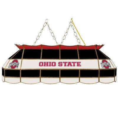 Ohio State 3-Light Stained Glass Hanging Tiffany Lamp