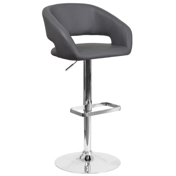 Flash Furniture 32 in. Adjustable Height Gray Cushioned Bar Stool CH122070GY