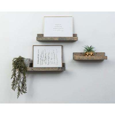 Rustic Luxe 7 in. Depth Gray Pine Wood Floating Decorative Wall Shelf Set