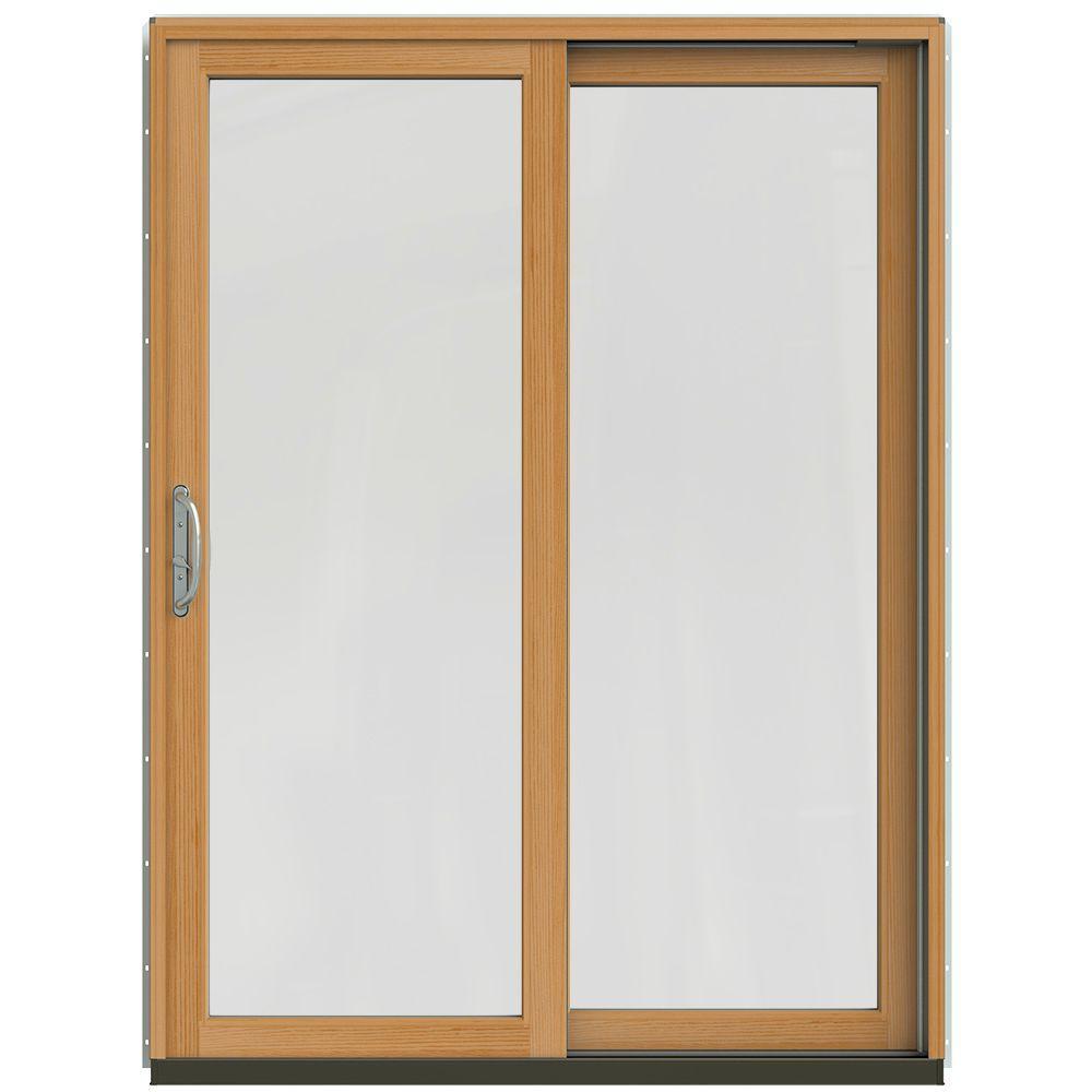 Jeld wen 59 1 4 in x 79 1 2 in w 2500 black right hand Sliding wood patio doors