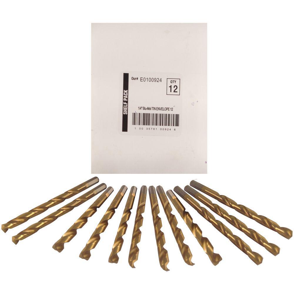 1/4 in. Diameter Titanium Jobber Drill Bit (12-Pack)