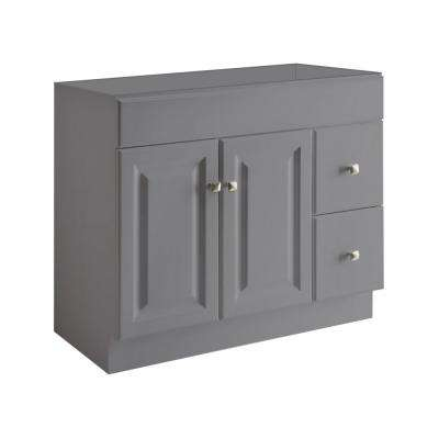 Wyndham 36 in. W x 21 in. D Ready to Assemble Bath Vanity Cabinet Only in Gray