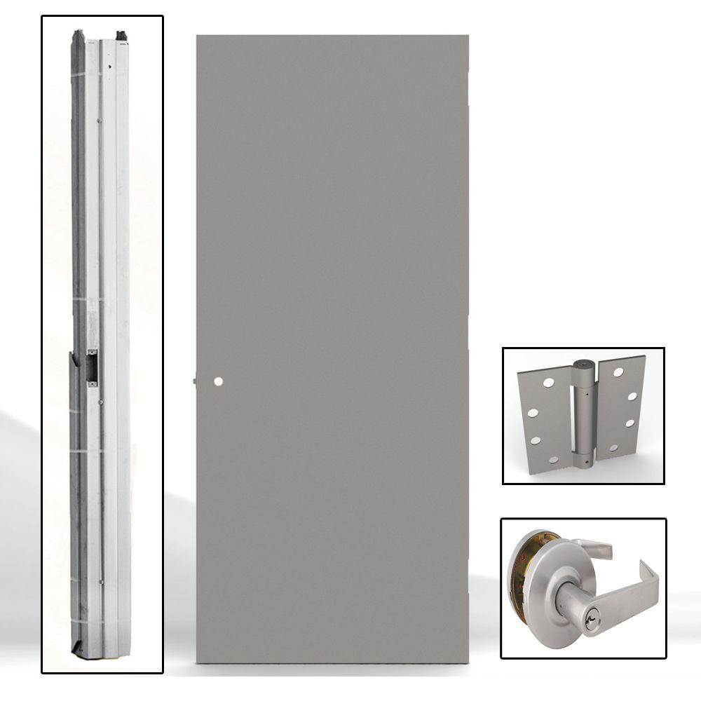 L.I.F Industries 36 in. x 80 in. Gray Flush Steel Commercial Door with Hardware