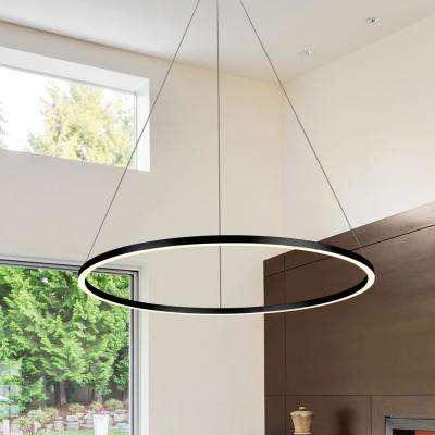 Tania Round 39 in. 54-Watt Black Integrated LED Chandelier