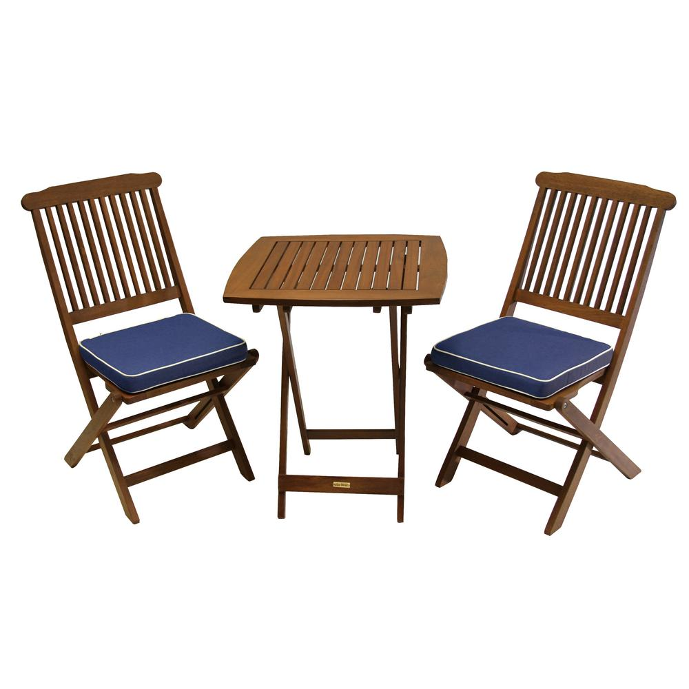 3 piece eucalyptus outdoor bistro set with blue cushions