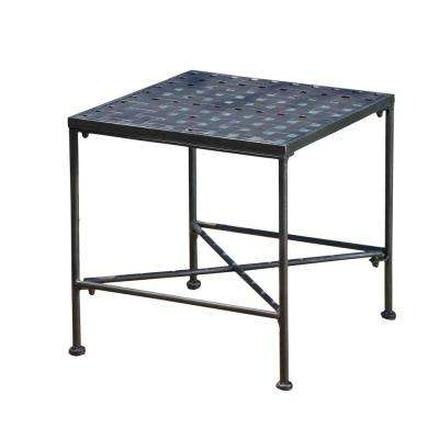 Petra Black Square Metal Outdoor Side Table