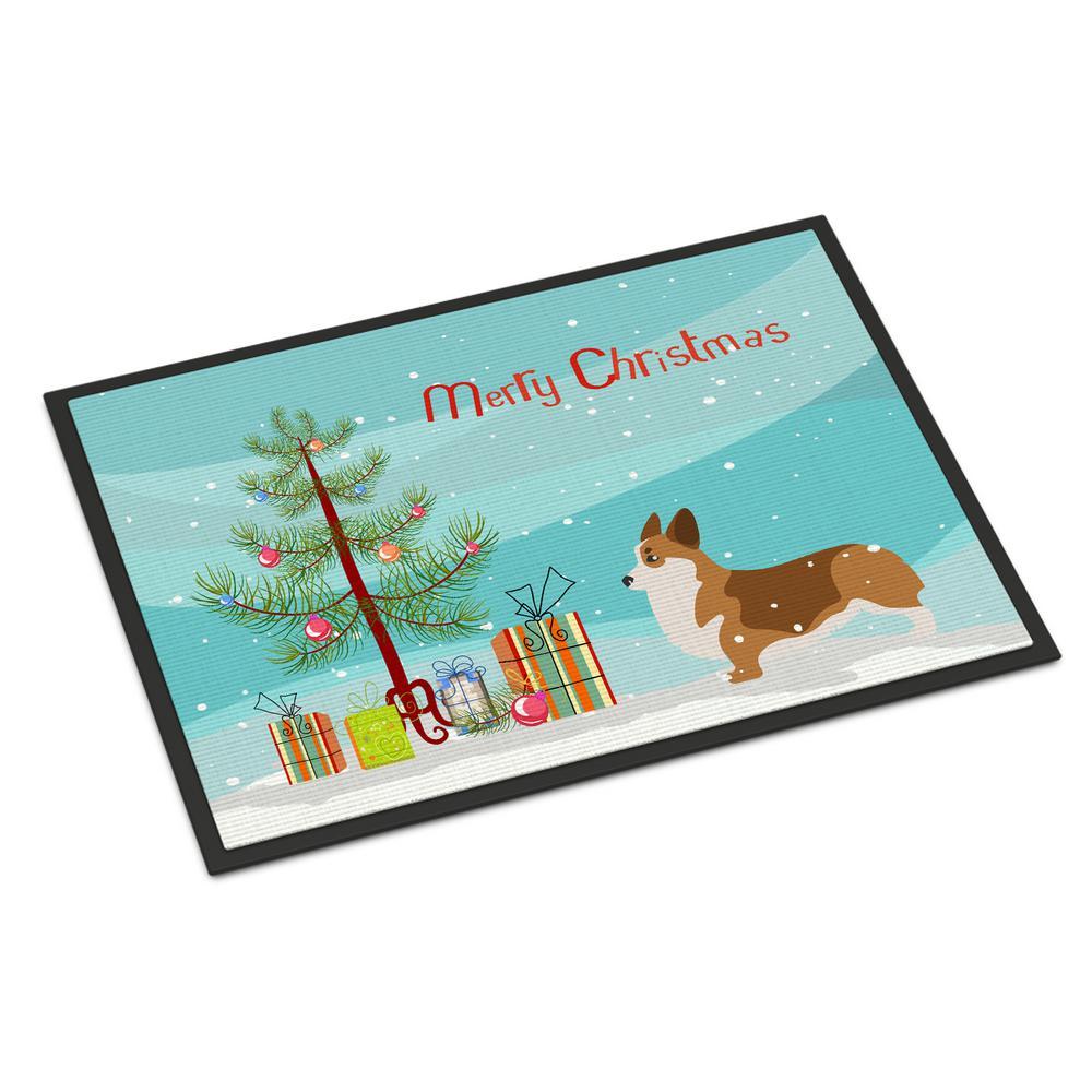 18 in. x 27 in. Indoor/Outdoor Corgi Merry Christmas Tree Door Mat