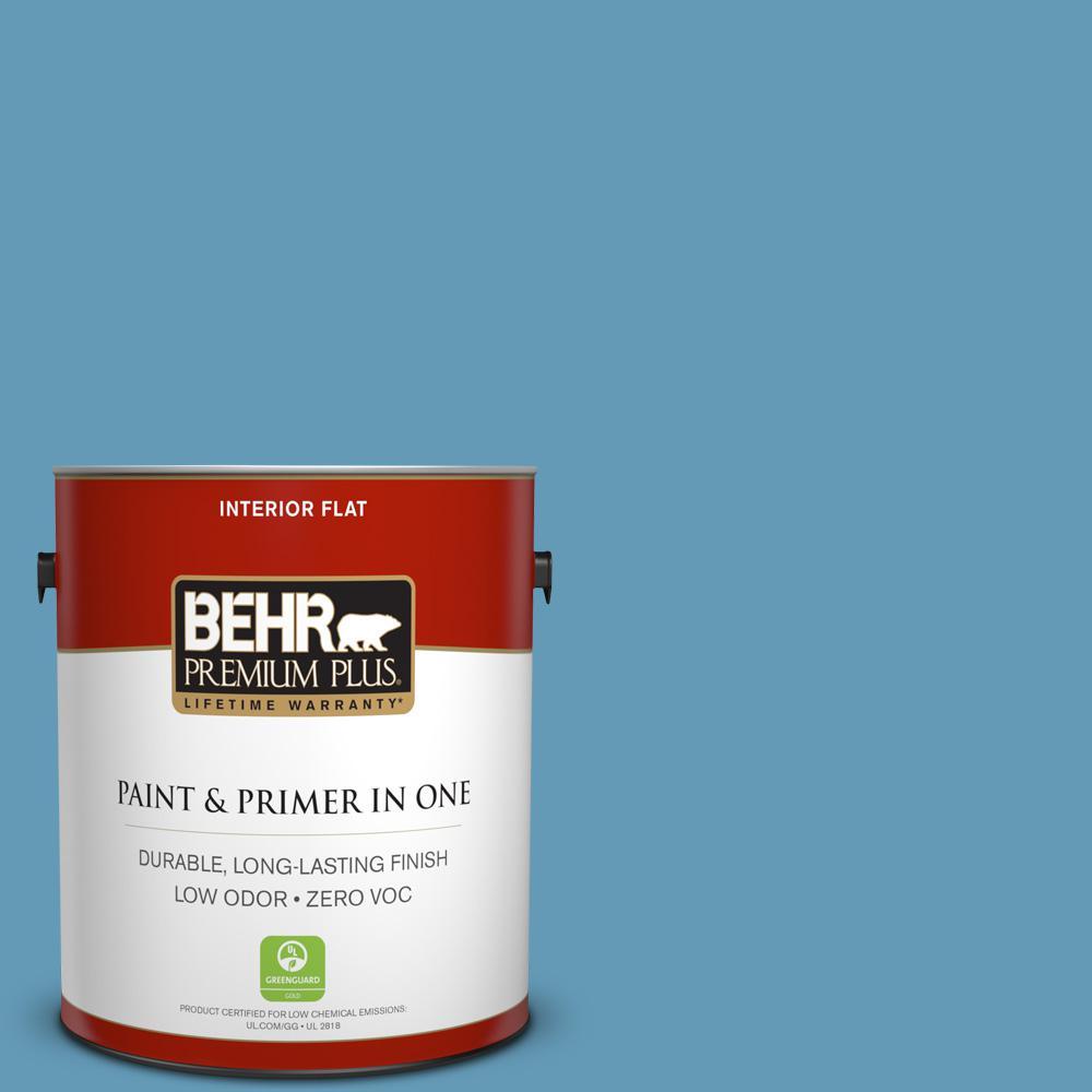 BEHR Premium Plus 1-gal. #S490-4 Yacht Blue Flat Interior Paint