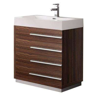 Livello 30 in. Bath Vanity in Walnut with Acrylic Vanity Top in White with White Basin
