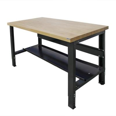 30 in. x 48 in. Heavy-Duty Adjustable Height Workbench with Solid Hardwood Top and Bottom Shelf