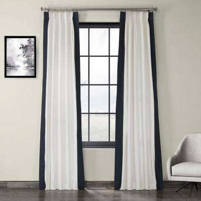 Fresh Popcorn and Polo Navy Blue Room Darkening Pleated Vertical Colorblock Curtain - 25 in. W x 96 in. L