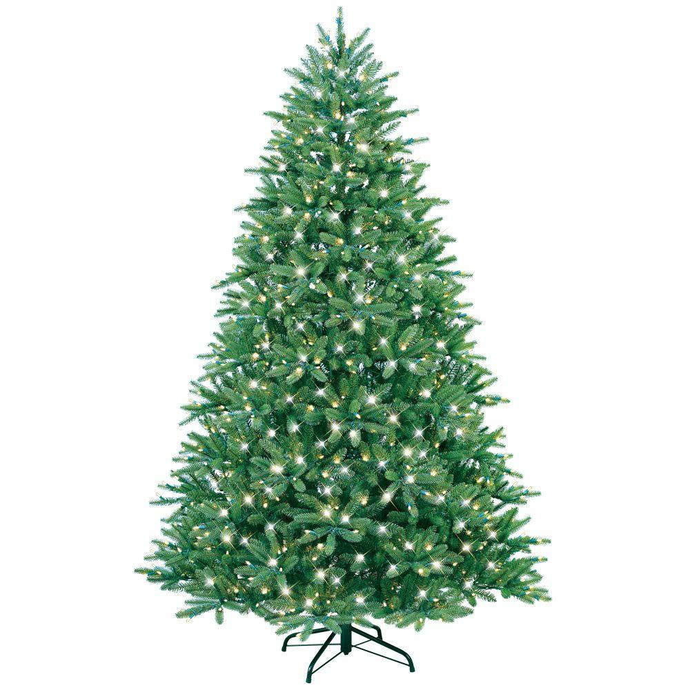 GE 7.5 ft. Pre-Lit Just Cut Fraser Fir Artificial Christmas Tree with Clear Lights
