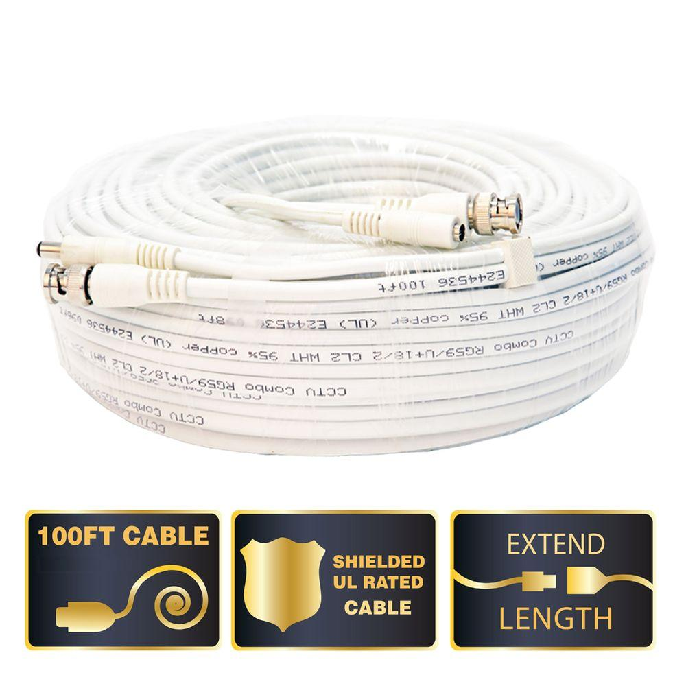 100 ft. Shielded Video and Power BNC Male Cable with 2