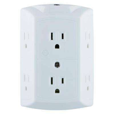 6-Outlet Grounded Tap with Resettable Circuit Breaker, White