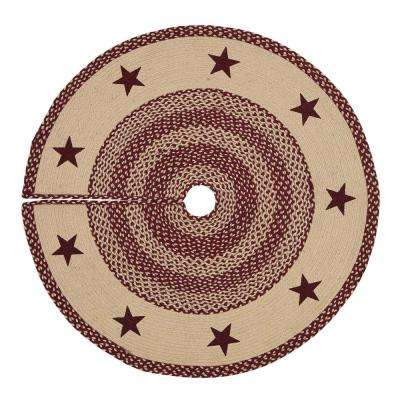 48 in. Burgundy Tan Jute Red Primitive Classic Country Decor Star Stenciled Tree Skirt