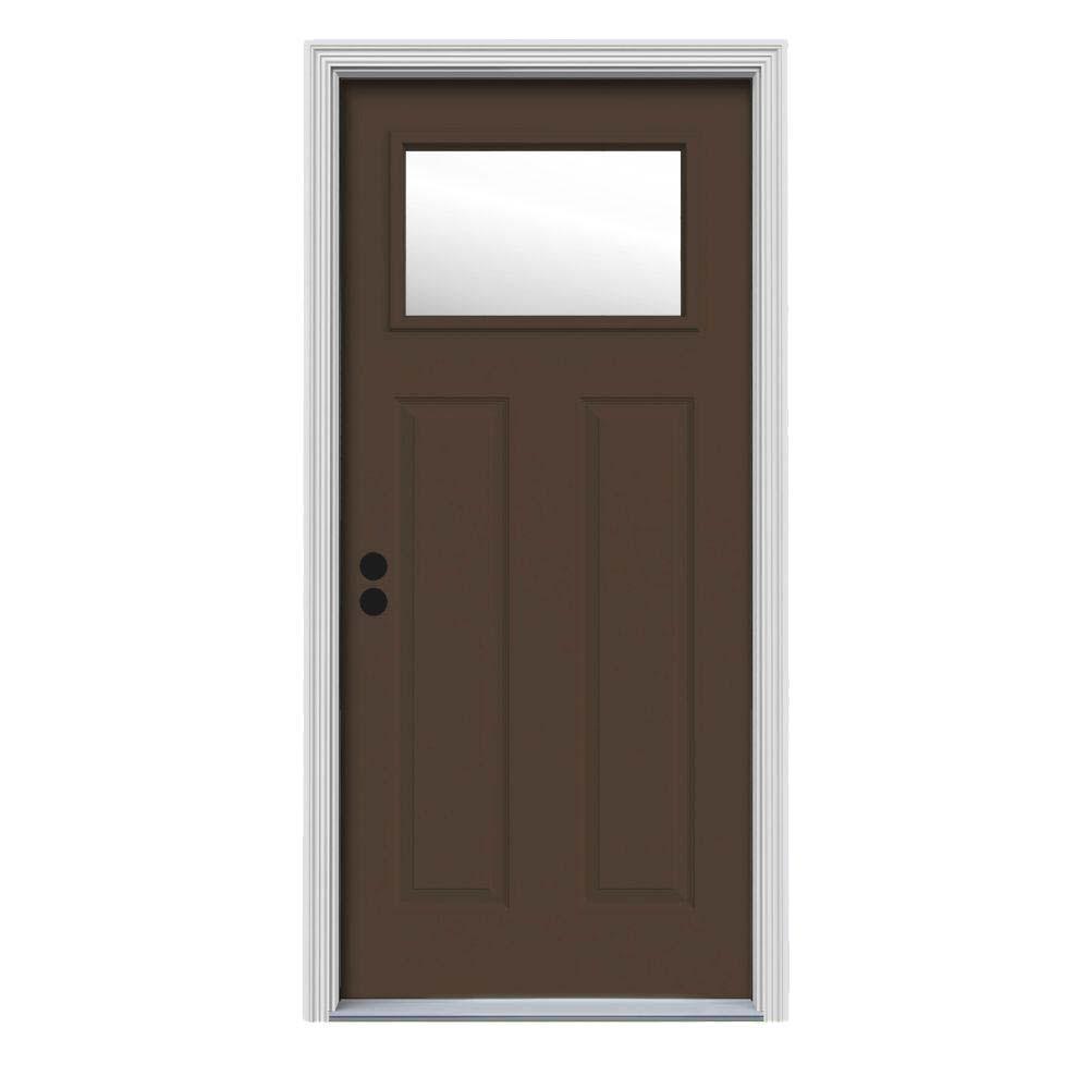 34 in. x 80 in. 1 Lite Craftsman Dark Chocolate Painted Steel Prehung Right-Hand Inswing Front Door w/Brickmould