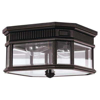 Cotswold Lane 2-Light Grecian Bronze Outdoor Ceiling Fixture
