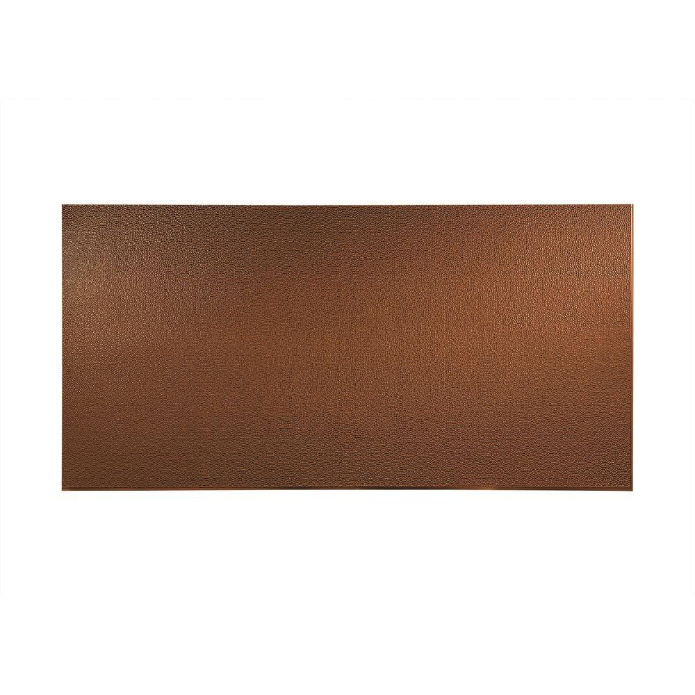 Fasade 96 in. x 48 in. Hammered Decorative Wall Panel in Oil Rubbed Bronze