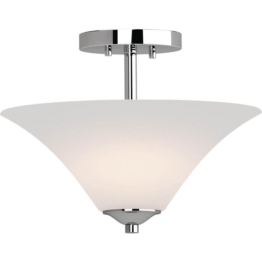 Alesia 2-Light Polished Nickel Indoor Semi-Flush Mount Ceiling Fixture with