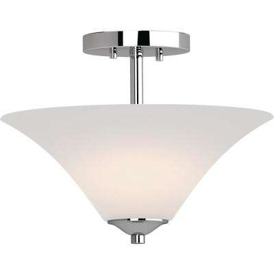 Alesia 2-Light Polished Nickel Indoor Semi-Flush Mount Ceiling Fixture with Frosted Glass Bowl