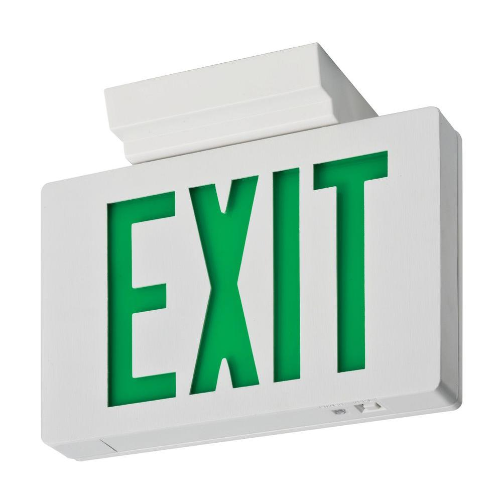 Lithonia Lighting Signature Die Cast Single Face Green Led Aluminum Exit Sign