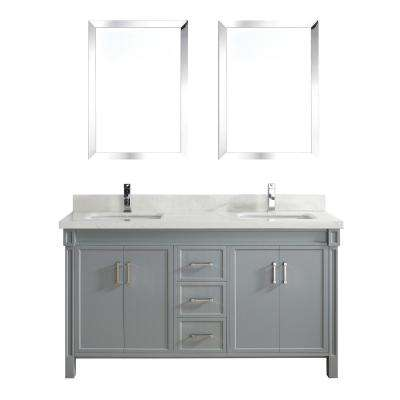 Serrano 63 in. W x 22 in. D Vanity in Oxford Gray with Engineered Vanity Top in White with White Basin and Mirror
