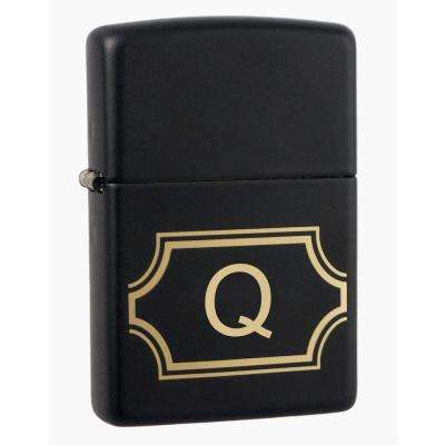 "Black Matte Lighter with Initial ""Q"""
