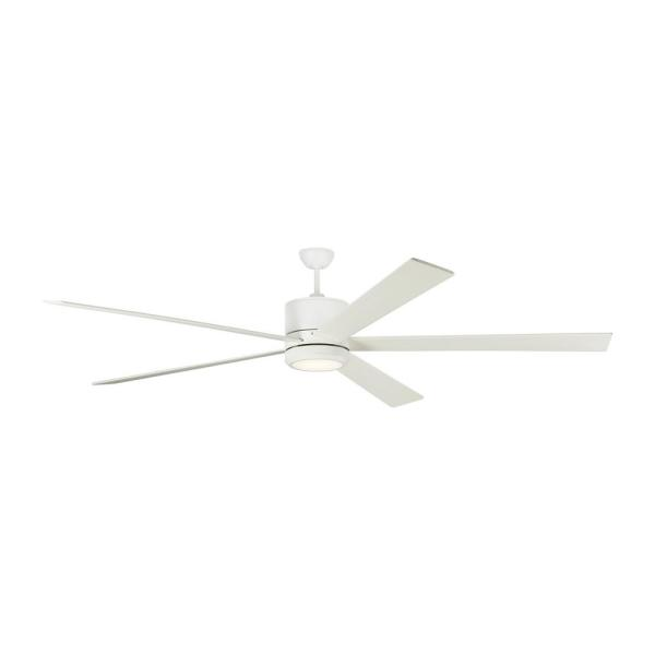 Vision 84 in. Integrated LED Matte White Ceiling Fan with DC Motor and 6-Speed Remote Control