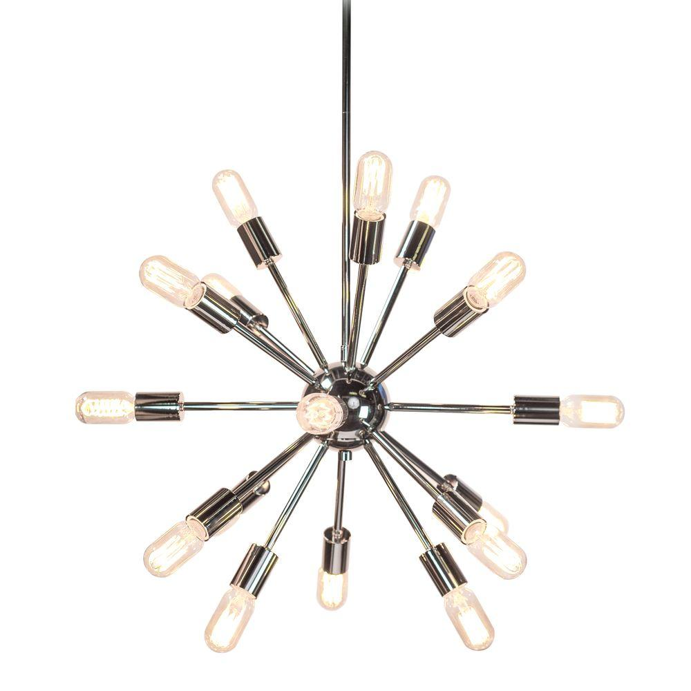 decor living sputnik 18 light polished nickel chandelier. Black Bedroom Furniture Sets. Home Design Ideas