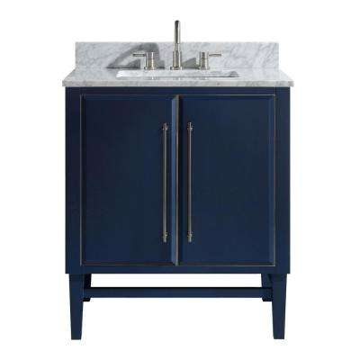 Mason 31 in. W x 22 in. D Bath Vanity in Navy Blue/Silver Trim with Marble Vanity Top in Carrara White with White Basin