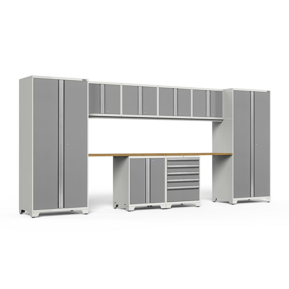 Pro 3.0 85.25 in. H x 184 in. W x 24 in. D 18-Gauge Welded Steel Garage Cabinet Set in Platinum (10-Piece)