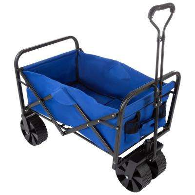 Blue All-Terrain Folding Camping/Beach Wagon with Telescoping Handle and Extra Wide Wheels