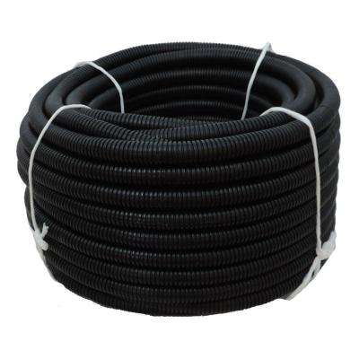 1-1/2 in. Dia. x 50 ft. Black Flexible Corrugated Polyethylene Non Split Tubing and Convoluted Wire Loom
