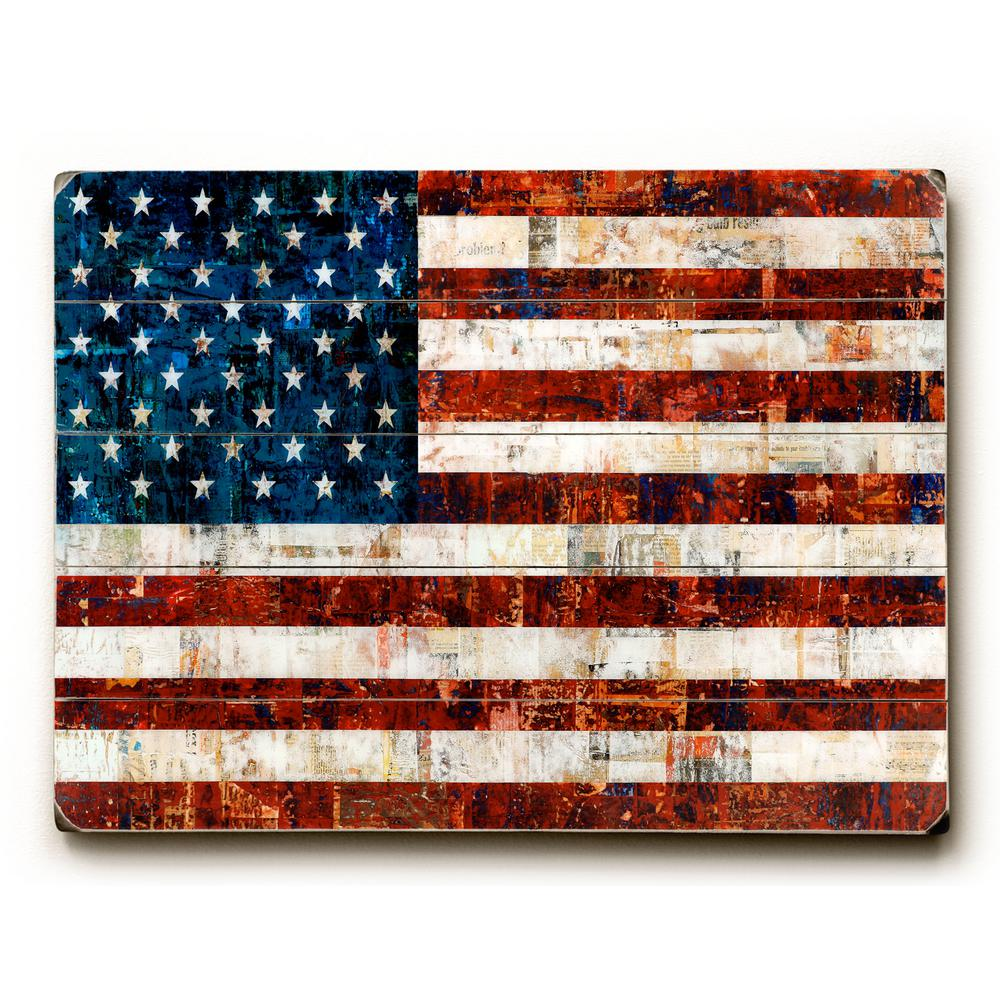 "25 in. x 34 in. ""American Flag Collage by Stella Bradley"