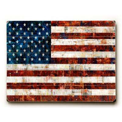 "12 in. x 16 in. ""American Flag Collage  by Stella Bradley ""Planked Wood"" Wall Art"