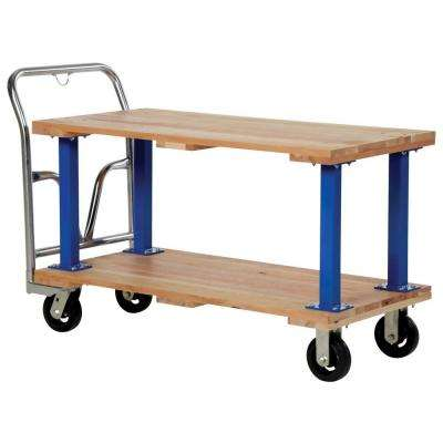 1,600 lb. 24 in. x 50 in. Capacity Double Deck Hardwood Platform Cart