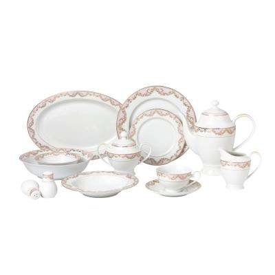 57-Piece Pink Dinnerware Set-New Bone China Service for 8-People-Beauty