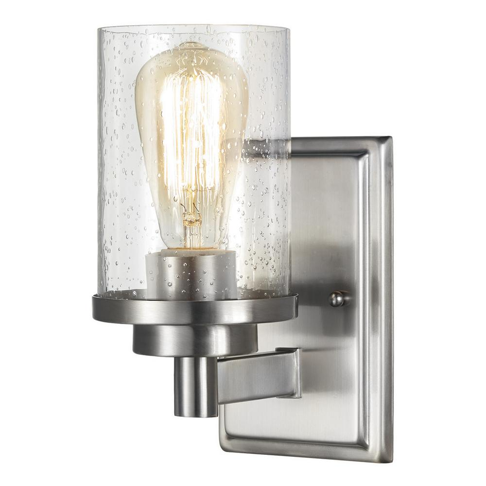 home decorators collection 1light brushed nickel wall sconce with clear seeded glass