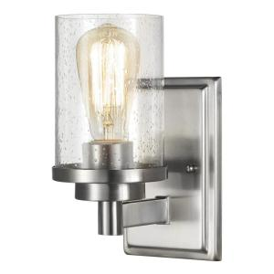 Home Decorators Collection 1-Light Brushed Nickel Wall Sconce with Clear Seeded Glass... by Home Decorators Collection