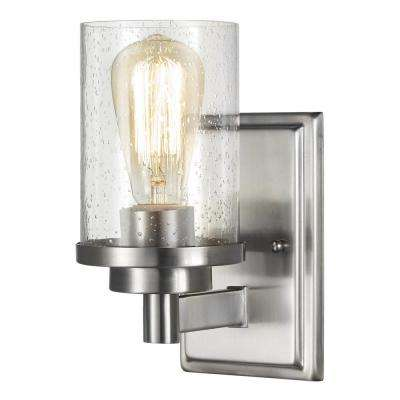 1-Light Brushed Nickel Wall Sconce with Clear Seeded Glass Shade
