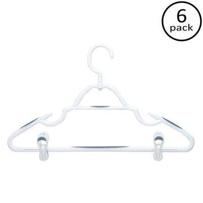 Soft Touch Swivel Hanger White Plastic with Clips (6-Pack)
