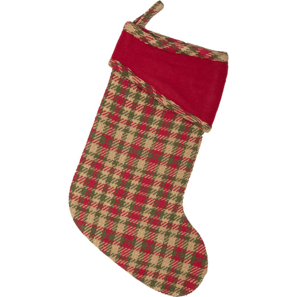 cotton claren cherry red rustic christmas decor stocking - Rustic Christmas Stockings