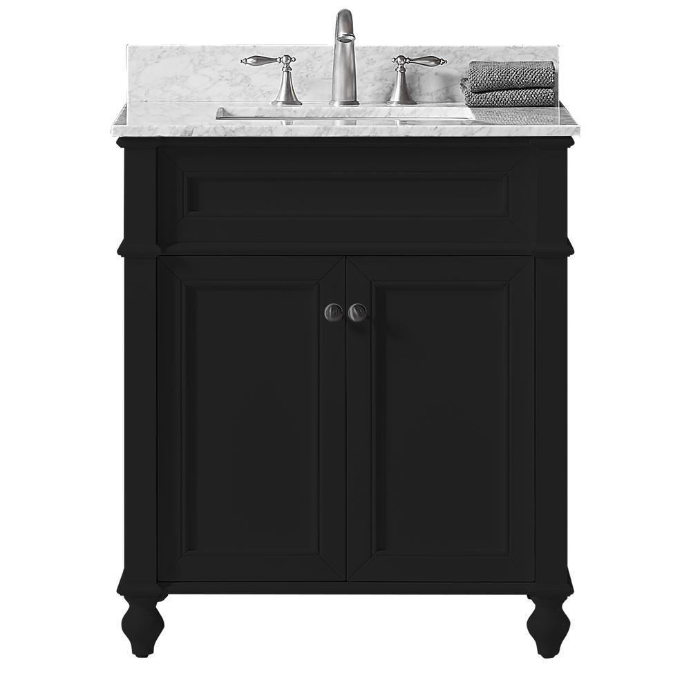 Margaux 30 in. W x 22 in. D x 34.2 in. H Bath Vanity in Espresso w/ Carrara Marble Vanity Top in White w/ White Basin