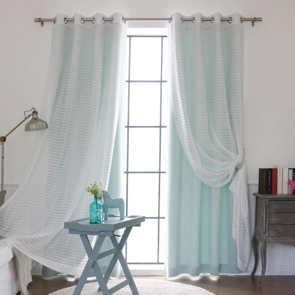 L UMIXm Mint Sheer Checkered And Blackout Curtain 4