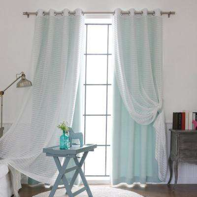 84 in. L uMIXm Mint Sheer Checkered and Blackout Curtain (4-Pack)
