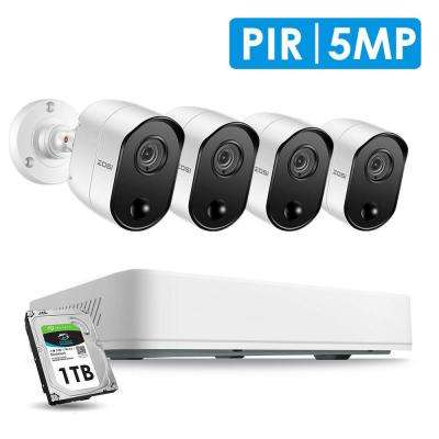 Super HD 4-Channel 5MP 1TB Hard Drive DVR Security Camera System with 4-Wired PIR Bullet Cameras
