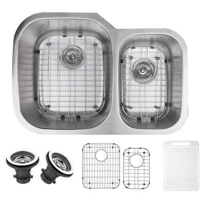 Undermount Stainless Steel 30 in. Double Basin Kitchen Sink with Grid and Strainer