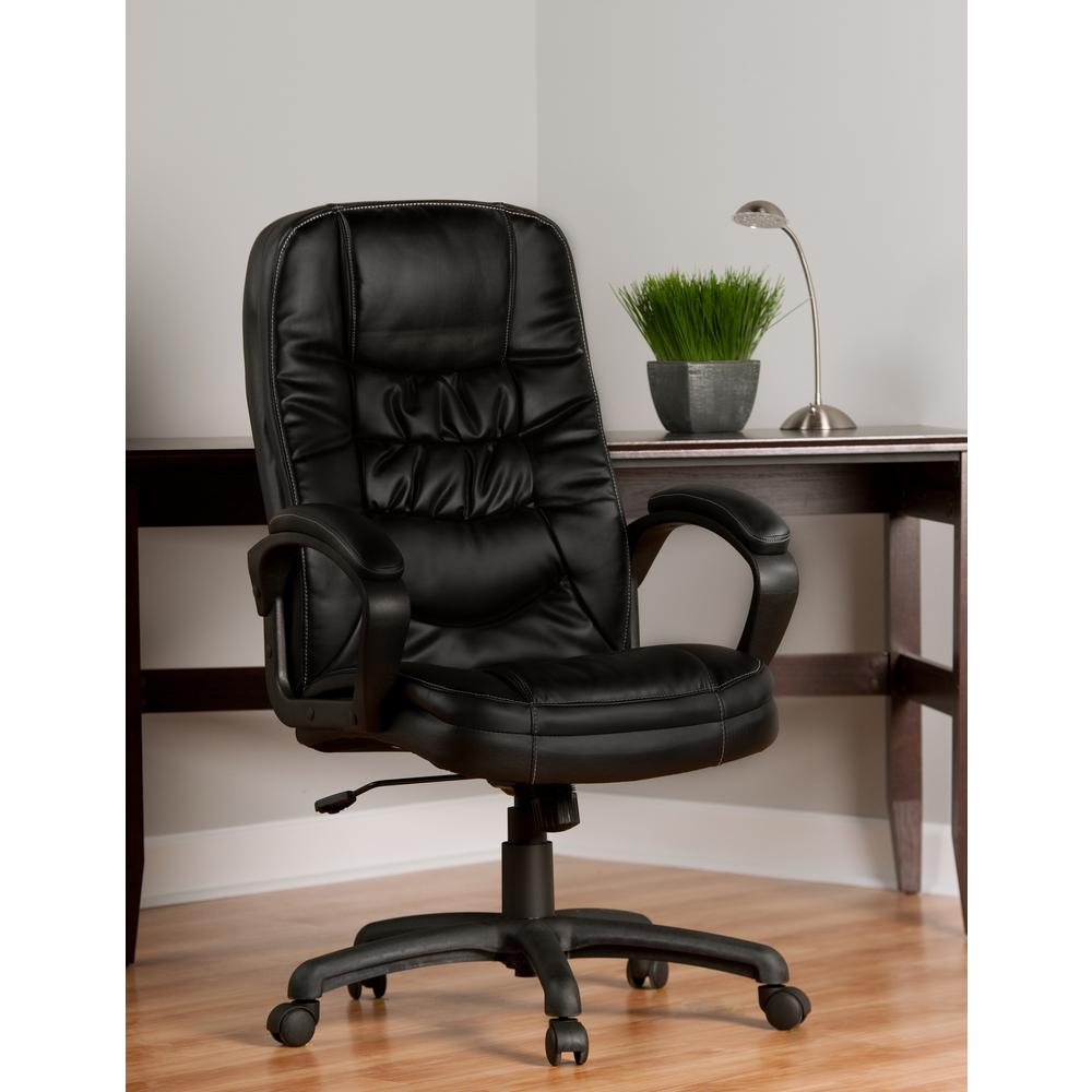 Lovely OneSpace Comfort Products Black Highback Soft Touch Leather Executive Chair